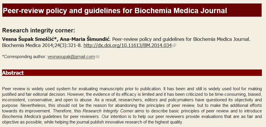Peer-review policy and guidelines for Biochemia Medica Journal