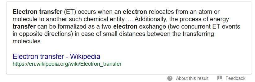 Wikipedia definition of electron transfer