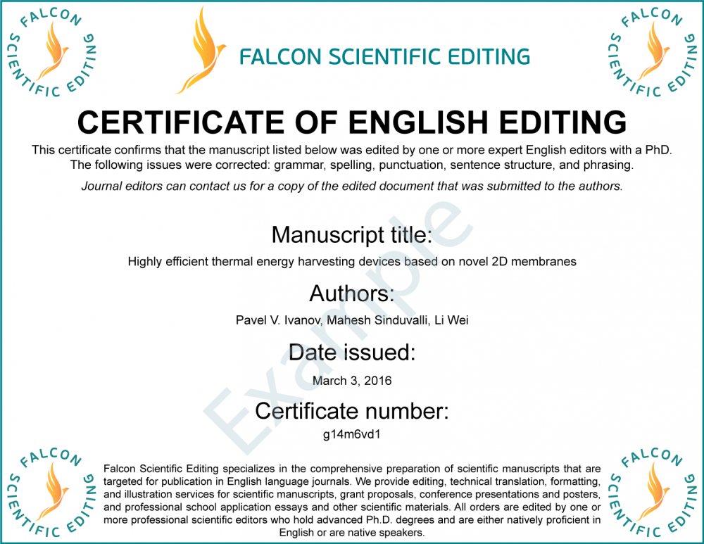 Free English Editing Certificate With Editing Order
